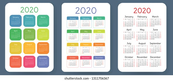 Calendar 2020. Colorful vector set. Pocket calender collection. Week starts on Sunday. Basic grid template for print