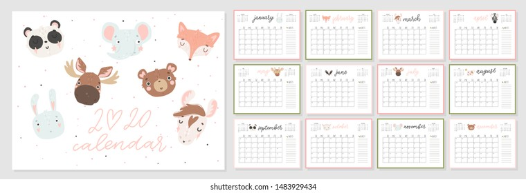 Calendar 2020. Creative calendar with hand drawn cute animals.  Good for kids. Redy to print. Vector illustrations