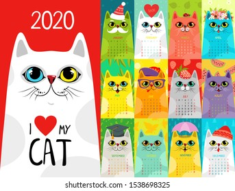 Calendar 2020 with cute cats. Character cats. Calendar 2020 vector EPS 10