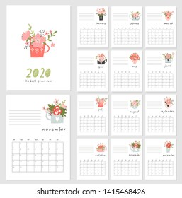 Calendar 2020. Cute and creative calendar with hand drawn spring flowers in pots and cups. Redy to print. Vector illustrations