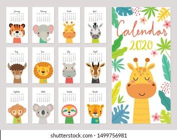 Calendar 2020. Cute monthly calendar with jungle animals. Hand drawn rainforest characters. Vector illustration.