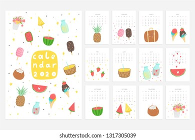 Calendar 2020. Cute monthly calendar with lifestyle objects, fruits, ice cream and etc. Hand drawn style illustration. Vector collection