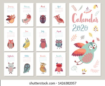 Calendar 2020. Cute monthly calendar with Owls. Hand drawn style characters.