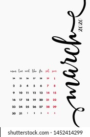 Calendar 2020 Design, 12 Months Pages Vector Set. Organizer 2020 Monthly Template. Month March.