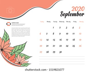Calendar 2020 design Vector, Desk Calendar 2020 template, September, Orange flowers concept, Week Start On Sunday, Planner, Stationery, Printing, Size : 8 x 6 inch
