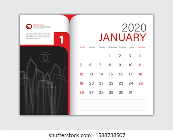 Calendar 2020 design Vector, Desk Calendar 2020 template, JANUARY, red concept, Week Start On Sunday, Planner, Stationery, Printing, Size : 8 x 6 inch