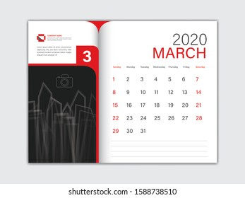 Calendar 2020 design Vector, Desk Calendar 2020 template, MARCH, red concept, Week Start On Sunday, Planner, Stationery, Printing, Size : 8 x 6 inch