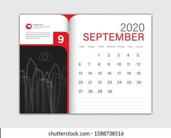 Calendar 2020 design Vector, Desk Calendar 2020 template, SEPTEMBER, red concept, Week Start On Sunday, Planner, Stationery, Printing, Size : 8 x 6 inch