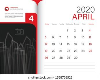 Calendar 2020 design Vector, Desk Calendar 2020 template, APRIL, red concept, Week Start On Sunday, Planner, Stationery, Printing, Size : 8 x 6 inch