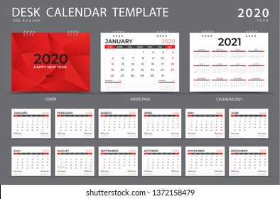 Calendar 2020, Desk calendar template, Set of 12 Months, Planner, Week starts on Sunday, Stationery design, advertisement, Vector layout, red cover design, business brochure flyer