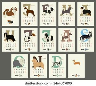 The calendar 2020 Dog breeds set