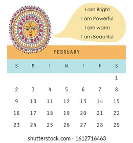 Calendar 2020 FEBRUARY. Motivational quotes. Madhubani painting. elephant motif.Vector art.
