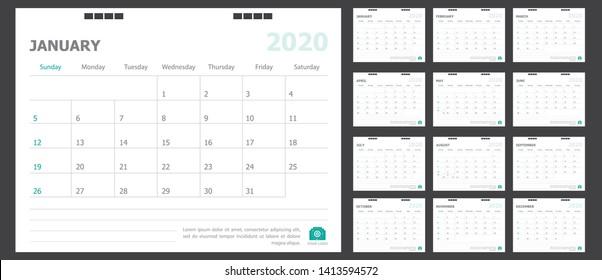 Calendar for 2020 green background