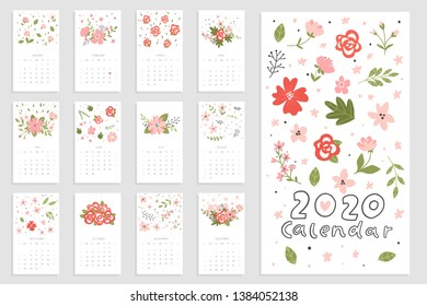 Calendar 2020 with hand drawn flowers. Cute printable creative template with floral elements. Redy to print. Vector illustrations