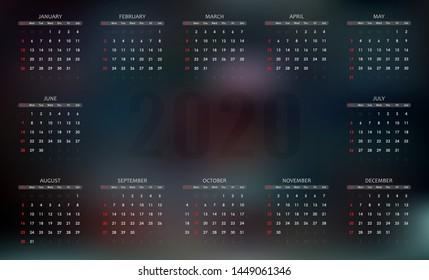 Calendar 2020 on a gradient dark background. Vector illustration.