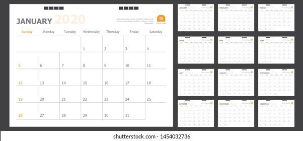Calendar for 2020 orange background