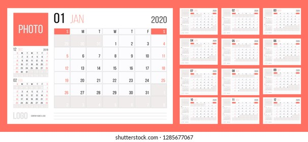 Calendar 2020 planner corporate template design annual set Living coral color. Week starts on Sunday. Basic grid - template for annual calendar 2020