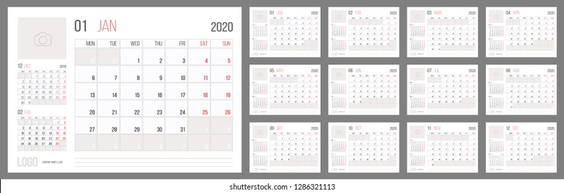 Calendar 2020 planner corporate template design set. Week starts on Monday. Basic grid - template for annual calendar 2020