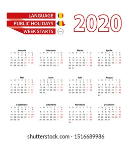 Calendar 2020 in Romanian language with public holidays the country of Romania in year 2020. Week starts from Monday. Vector Illustration.