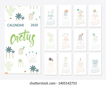 Calendar 2020. Calendar set with cactus succulents in minimalistic geometric scandinavian style and trendy colors. Week Starts on Sunday. Set of 12 Months minimalist calendars. Illustrations