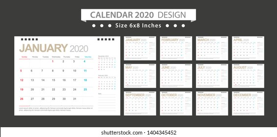 Calendar 2020, Set Desk Calendar template design with Place for Photo and Company Logo. Week Starts on Sunday. Set of 12 Months