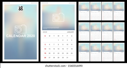 Calendar 2020, Set Desk Calendar Template Design With Place For Photo And Company Logo. Vector Design Editable Template With Set Of 12 Pages For The Twelve Months. Week Starts Sunday.