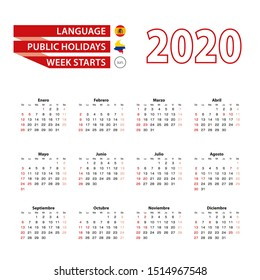 Calendar 2020 in Spanish language with public holidays the country of Colombia in year 2020. Week starts from Sunday Vector Illustration.