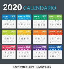 Calendar 2020 in Spanish language, week starts on Monday. Vector calendar 2020 year.
