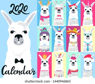 Calendar for 2020 from Sunday to Saturday. Cute llama in different costumes. Sombrero, birthday, sailor in a vest, unicorn, Santa Claus. Funny animal. Alpaca cartoon character.