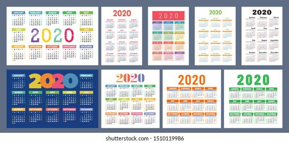 Calendar 2020 template. Calender design set. Vector square, horizontal and vertical layout. Colorful English collection. Week starts on Sunday