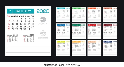 Calendar 2020 template creative design, cover design, Set of 12 Months, Week starts Sunday, Stationery design, flyer layout, printing media, brochure or poster design