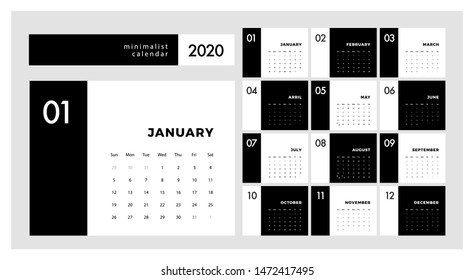 Calendar 2020 Trendy Minimalist Style. Set of 12 pages desk. minimal calendar planing black and white vector design for printing template