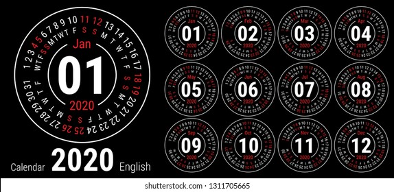 Calendar 2020. Vector English round calender. January, February, March, April, May, June, July, August, September, October, November, December. Sunday. Design template. Circle. Black color