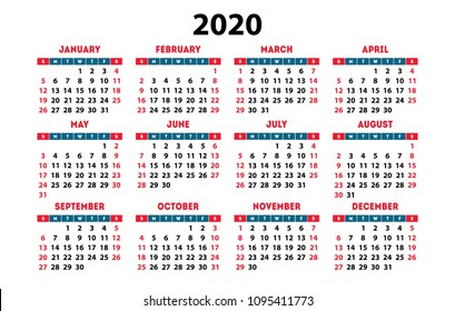 Calendar 2020 vector pocket basic grid. Simple design template