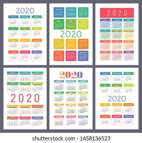 Calendar 2020. Vector template collection. Colorful English pocket calender set. Week starts on Sunday. New year