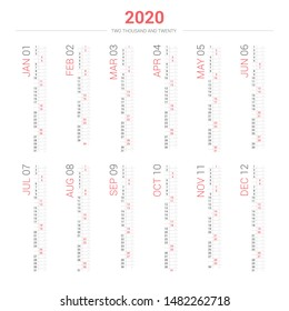 Calendar 2020 vertical style. Vector design on white background.