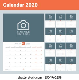 Calendar for 2020. Wall calendar planner with place for photo. Vector design print template. Week starts on Monday. Set of 12 months