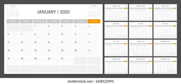 Calendar 2020. Week start Monday corporate design planner template.