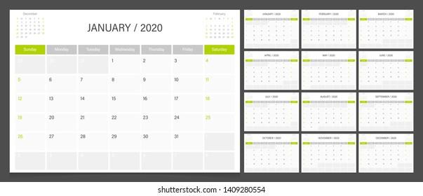 Calendar 2020. Week start Sunday corporate design planner template.