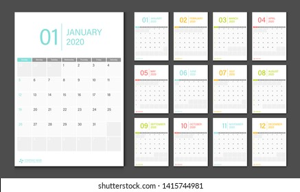 Calendar 2020. Week start Sunday corporate design planner template.