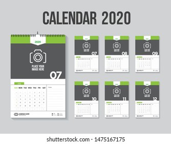 Calendar 2020. Week start Sunday corporate design planner template. Vector design stationery template.