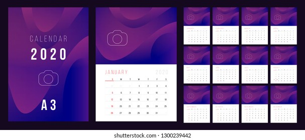 Calendar 2020. Week Starts on Sunday. A3 format ready to print.  Set Desk Calendar template design with Place for Photo.  Set of 12 Months