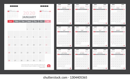 Calendar for 2020 White and red background