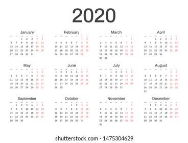 Vector De Calendario 2020.Imagenes Fotos De Stock Y Vectores Sobre Calendario