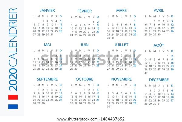Illustration Calendrier.Calendar 2020 Year Horizontal Vector Illustration Stock