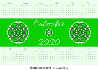 Calendar for 2020 year with mandala pattern on green background.  Vector design. Week starts on sunday.