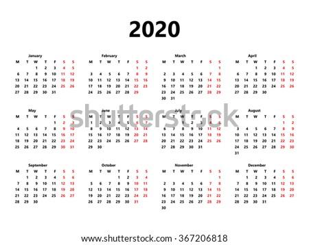 Calendario 2020 Vettoriale Gratis.Immagine Vettoriale A Tema Calendar 2020 Year Simple Style