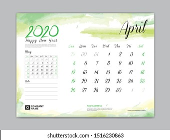 Calendar for 2020 year template, April month, Desk Calendar 2020, week start on sunday, planner design, stationery, business printing, watercolor background, vector eps10,  8 x 6 inch size