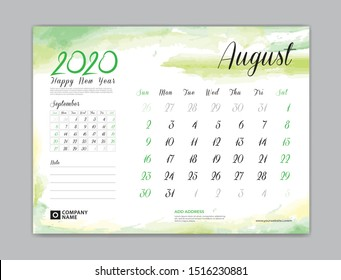Calendar for 2020 year template, August month, Desk Calendar 2020, week start on sunday, planner design, stationery, business printing, watercolor background, vector eps10,  8 x 6 inch size