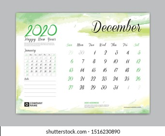 Calendar for 2020 year template, December month, Desk Calendar 2020, week start on sunday, planner design, stationery, business printing, watercolor background, vector eps10,  8 x 6 inch size